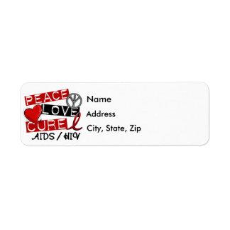 Peace Love Cure AIDS HIV Label