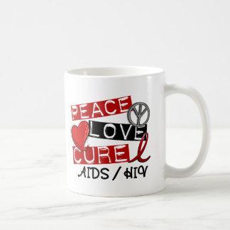 Peace Love Cure AIDS HIV Coffee Mug