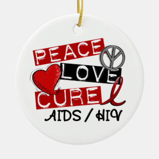 Peace Love Cure AIDS HIV Double-Sided Ceramic Round Christmas Ornament