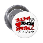 Peace Love Cure AIDS HIV Pin