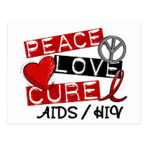 Peace Love Cure AIDS HIV Postcard