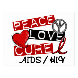 Peace Love Cure AIDS HIV Postcard