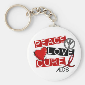 Peace, Love, Cure AIDS Keychain