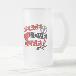 Peace, Love, Cure AIDS 16 Oz Frosted Glass Beer Mug