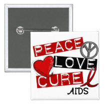 Peace, Love, Cure AIDS Pinback Button