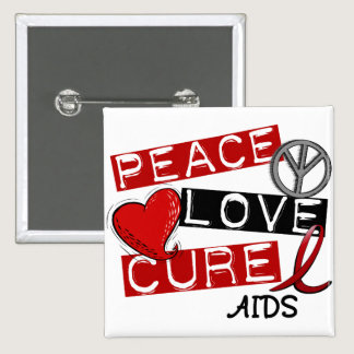 Peace, Love, Cure AIDS Pinback Button