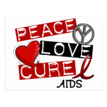 Peace, Love, Cure AIDS Postcard