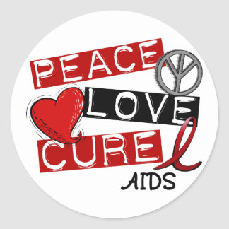 Peace, Love, Cure AIDS Round Stickers