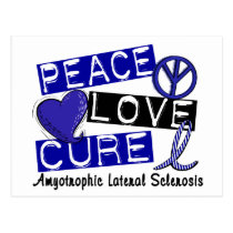 Peace Love Cure ALS Amyotrophic Lateral Sclerosis Postcard