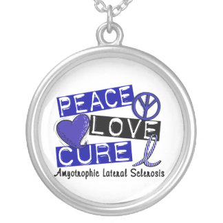 Peace Love Cure ALS Amyotrophic Lateral Sclerosis Silver Plated Necklace