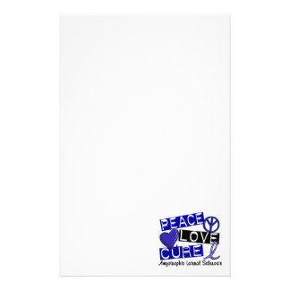 Peace Love Cure ALS Amyotrophic Lateral Sclerosis Personalized Stationery
