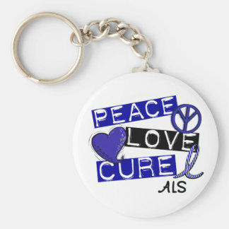 PEACE LOVE CURE ALS BASIC ROUND BUTTON KEYCHAIN