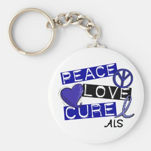 PEACE LOVE CURE ALS KEYCHAINS