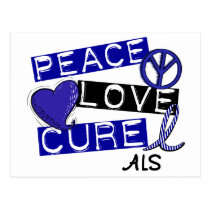 PEACE LOVE CURE ALS POSTCARD