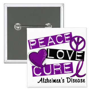 PEACE LOVE CURE ALZHEIMER'S DISEASE 2 INCH SQUARE BUTTON