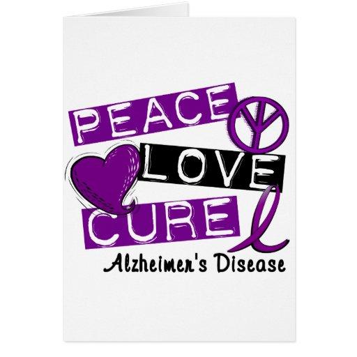 PEACE LOVE CURE ALZHEIMER'S DISEASE CARDS