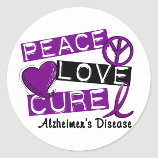 PEACE LOVE CURE ALZHEIMER'S DISEASE CLASSIC ROUND STICKER