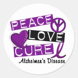 PEACE LOVE CURE ALZHEIMER'S DISEASE CLASSIC ROUND STICKER