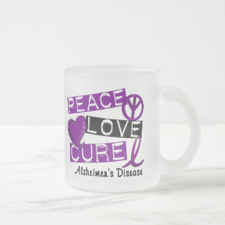 PEACE LOVE CURE ALZHEIMER'S DISEASE FROSTED GLASS COFFEE MUG