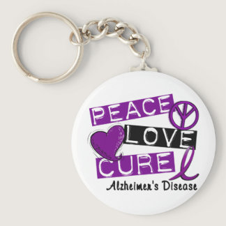 PEACE LOVE CURE ALZHEIMER'S DISEASE KEYCHAIN