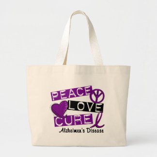 PEACE LOVE CURE ALZHEIMER'S DISEASE LARGE TOTE BAG