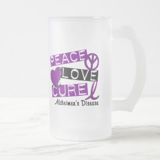 PEACE LOVE CURE ALZHEIMER'S DISEASE 16 OZ FROSTED GLASS BEER MUG