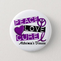 PEACE LOVE CURE ALZHEIMER'S DISEASE PINBACK BUTTON