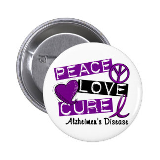 PEACE LOVE CURE ALZHEIMER'S DISEASE PINBACK BUTTON
