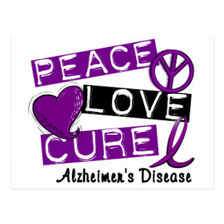 PEACE LOVE CURE ALZHEIMER'S DISEASE POSTCARD