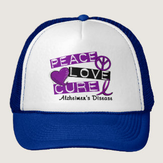 PEACE LOVE CURE ALZHEIMER'S DISEASE TRUCKER HAT