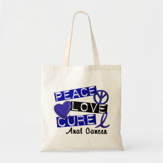 Peace Love Cure Anal Cancer Canvas Bag