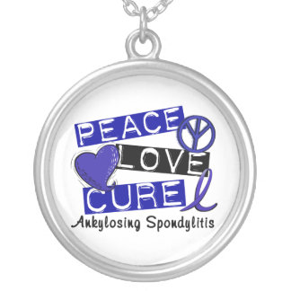 Peace Love Cure Ankylosing Spondylitis AS Silver Plated Necklace