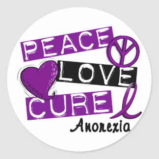PEACE LOVE CURE ANOREXIA CLASSIC ROUND STICKER