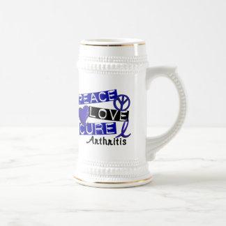 Peace Love Cure Arthritis 18 Oz Beer Stein