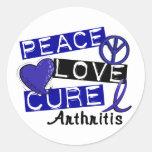 Peace Love Cure Arthritis Classic Round Sticker