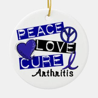 Peace Love Cure Arthritis Double-Sided Ceramic Round Christmas Ornament
