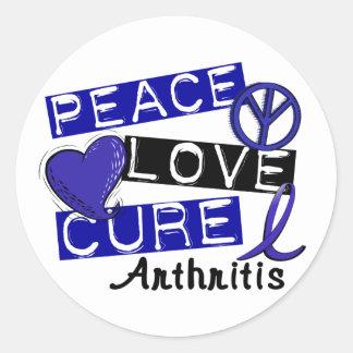 Peace Love Cure Arthritis Round Stickers
