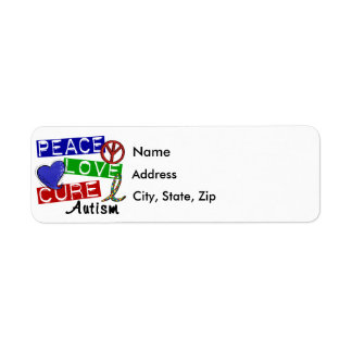 Peace Love Cure Autism Label