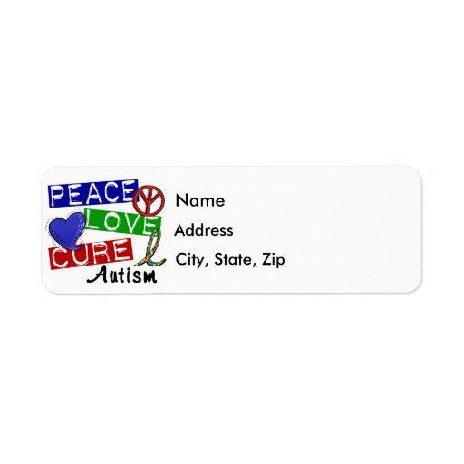 Peace Love Cure Autism Return Address Labels