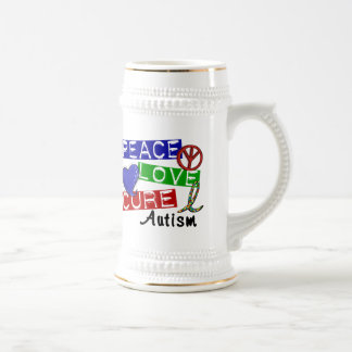 Peace Love Cure Autism 18 Oz Beer Stein