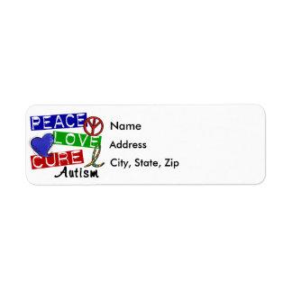 Peace Love Cure Autism Return Address Label