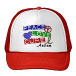 PEACE LOVE CURE AUTISM TRUCKER HATS