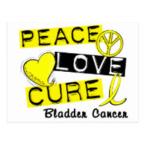 PEACE LOVE CURE BLADDER CANCER POSTCARD