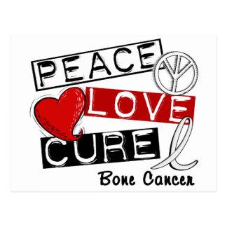 PEACE LOVE CURE BONE CANCER POSTCARD
