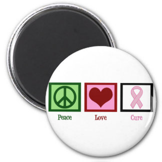 Peace Love Cure Breast Cancer 2 Inch Round Magnet