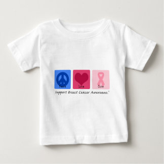 Peace Love Cure Breast Cancer Baby T-Shirt