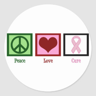 Peace Love Cure Breast Cancer Classic Round Sticker