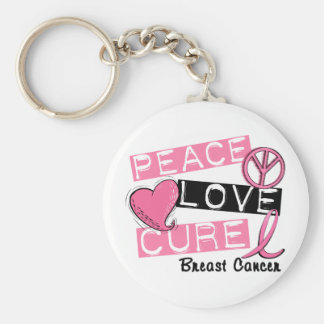 PEACE LOVE CURE BREAST CANCER KEYCHAIN