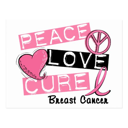 peace love cure breast cancer postcard zazzle. Black Bedroom Furniture Sets. Home Design Ideas