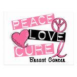 PEACE LOVE CURE BREAST CANCER POSTCARD
